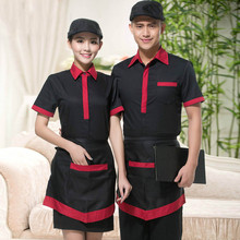Hot Sales Summer Work Wear Short-sleeve Chinese Restaurant Uniforms Snack Bar Staff Clothing 2pcs Top and Apron