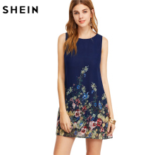 SHEIN Womens Dresses New Arrival 2017 Navy Buttoned Keyhole Back Flower Print Scoop Neck Sleeveless A Line Dress(China)