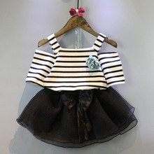 Summer New Baby Girls Clothes Stripped Vest T-Shirt Top+Black Skirt Girl Dress Set Fashion Design Kids Clothes Girls 2 Pcs Suit