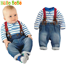 Brand Baby Clothing Set Cool Boys 3 Pcs Suit (t-shirt+pant +straps) Autumn And Winter Infant Garment Kids Clothes Wear(China)