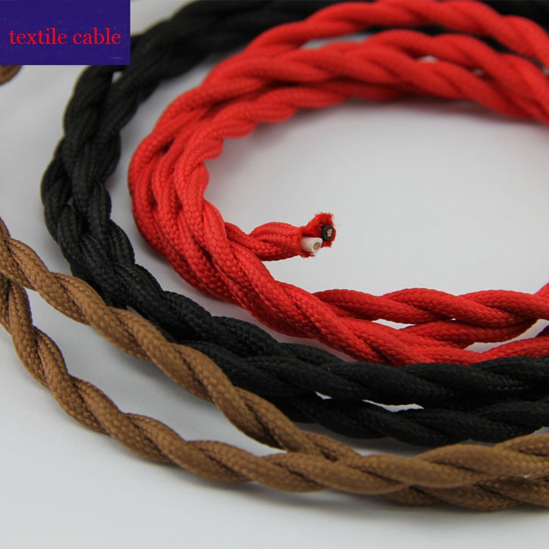 FREE Shipping 50mlot 2x0.75mm Textile Electrical Wire Color Braided Wire Fabric Covered Electrical Power Cord Fabric Wire (1)