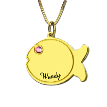Wholesale Kids Name Fish Necklace Personalized Birthstone Name Necklace Gold Color Lovely Fish Necklace Fun to Wear at Any Age(China)