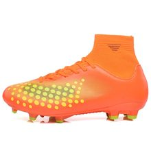 MAULTBY Men's Yellow / Orange High Ankle AG Sole Outdoor Cleats Football Boots Shoes Soccer Cleats #S31701O