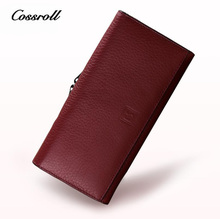 COSSROLL 100% Genuine Leather High Quality Wallets for Women and Men Trifold Wallet Women Wallets Luxury Brand Designer Purses(China)
