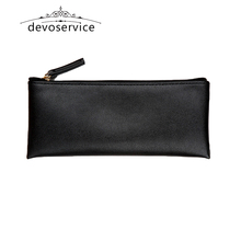 Free shipping Black Business  Pencil Case For Boys Girls Casual PU Fashion Kids Gift Pen Storage Cosmetic Bag Solid Handbag