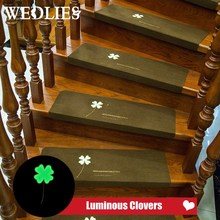Carpet Non-slip Floor Staircase Luminous Self-adhesive Four Leaf Clover Pattern Stair Tread Protector Mat Home Textile(China)