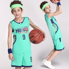Children's Basketball Uniforms Sportswear 125-175cm Boy Set Custom Logo Name Number Training Short Sleeved Suit Jersey and Short