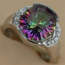 Fancy Rainbow Mystic and white Cubic Zirconia Rhodium Plated Ring R786 Size #6 8 9 Recommend Promotion Rave reviews Favourite