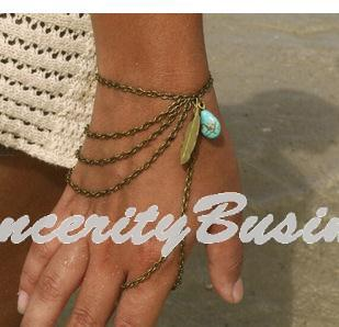 Bohemian Leaf Slave Hand Chain Harness Charm Vintage Bracelets For Women Fashion Jewelry Bracelets