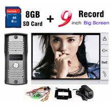 New 9 Inch Big Screen+8GB SD Card Video Record Door Phone Intercom System Outdoor waterproof Doorbell Camera Intercom Door bell