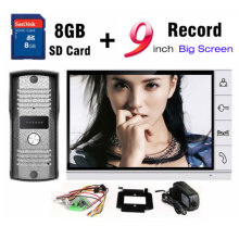 New 9 Inch Big Screen+8GB SD Card Video Record Door Phone Intercom System Outdoor waterproof Doorbell Camera Intercom Door bell(China)