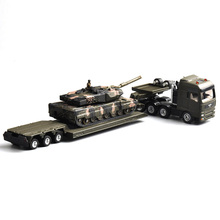 Toys 1/87 alloy diecast military Tank Model 1872 heavy truck trailer Panthers, Tieflader Mit Panzer Lo Loader with Tank
