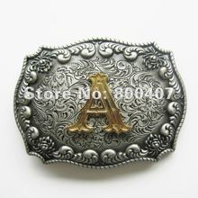 Retail Belt Buckle New Western Cowboy Initial Letter Belt Buckle A B C D E F G H I J K L M N O P Q R S T Free Shipping(China)