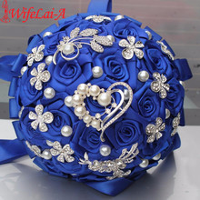 WifeLai-A 1Piece Luxury Red Crystal Wedding Bouquet Durable Holding Artificial Flowers Diamond Brooch Pearl Bridal Bouquets W125