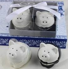 New Wedding Favor Ceramic Pig Salt And Pepper ShakersBridal Shower Favor Gifts Best Wedding Guest Souvenirs 50set