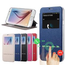 for Samsung Galaxy S6 G9200 cases Stent TPU leather Flip case Window protect Cover Case 6s for S 6 SM G920(China)