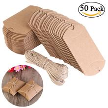 50pcs Wedding Gifts For Guests Kraft Boxes Wedding Favors Vintage Boxes Rustic Wrapping Gift Candy Boxes with Rope Wedding Favor(China)
