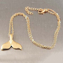 Fashion Fish Whale Tail Pendant Necklace Vintage Gold Silver Color Jewelry Adjustable Link Chain Necklace Gift For Female