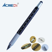 ACMECN Unique Aluminium Hexagon Ballpoint Pen with Ruler Level Instrument Screw Driver and Touch Stylus 6 in 1 Multifunction Pen