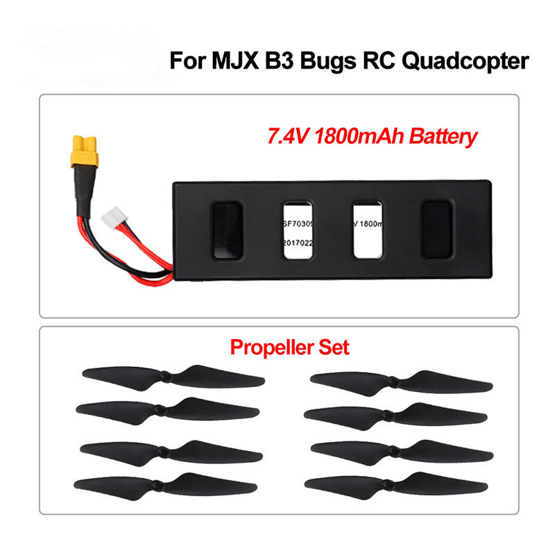Blueskysea 1pcs 7.4V 25C 1800mAh LiPo Battery+4pcs Propellers For MJX B3 Bugs 3 6Axis Drone Free shipping<br>