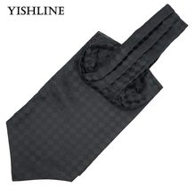 LJ11-12 Mens Vintage Solid Black Plaid Wedding Ties Formal Cravat Ascot Scrunch Self British Style Gentleman Neck Tie Luxury(China)