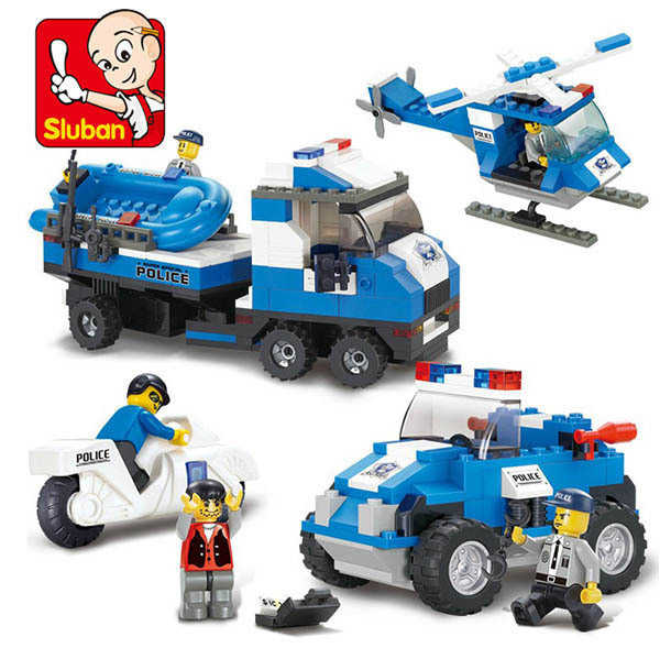 Sluban City SWAT Emergency call Sea land air Building Blocks set Bricks Construction Enlighten Toys Gift compatiable with gift <br><br>Aliexpress