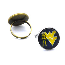 NCAA West Virginia Mountaineers Clear Domed Glass Cabochon Cover and Brass Pad ring jewelry for DIY Portrait Ring Making