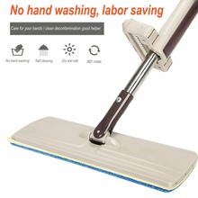 Lazy Hand wash-Free Flat Mop Wood Floor Household clean tools Hands-Free Telescopic Washing Mop with spare mop head(China)