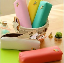 Cute Creative  Beautiful Pencil  Bag PU Leather Candy Colors Pencil Case Stationery
