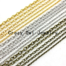 3mm*4mm Metal Silver Gold Rhodium Antique Bronze Red Copper Gunblack Bulk Jewelry Chain Necklace Cable Chain DIY Findings Y1117