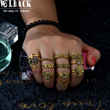 Welback 13pcs/lot trendy fashion jewelry rings for women vintage Electrical black treatment style Elephant hands flower ring(China)