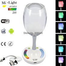 Mi.Light 2.4G Wireless Smart LED Bulb RGBW or RGBWW Wine Glass USB Charging Night Light Cup Lamp with Touch Control,WiFi Support