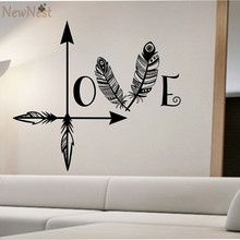2016 NEW - Arrow Feather Love Wall Decal Namaste Vinyl Sticker Art Decor Bedroom Design Mural Home Decor Fashion Wall Decoration