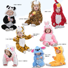 Brand Cute Animals Kitty Duck Panda Tiger Kids girls clothes newborn Cartoon baby suit warm winter animal Christmas baby Romper