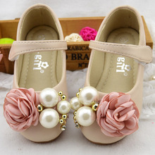 Pearls Flower Girls Shoes 2017 Strap Child Princess Shoes Party Girl Ballerinas Flower Children's Ballet Flats Sapatos Ninas(China)