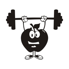 Funny Apple Dumbbell Cartoon GYM Wall Decal Sport Removable Art Mural Sticker For Sport Boys Kids Room Sport Home Decoration H68(China)