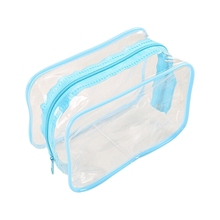 PVC Clear Pouch Travel Bathing Toiletry Zipper Cosmetic Bag, Blue S