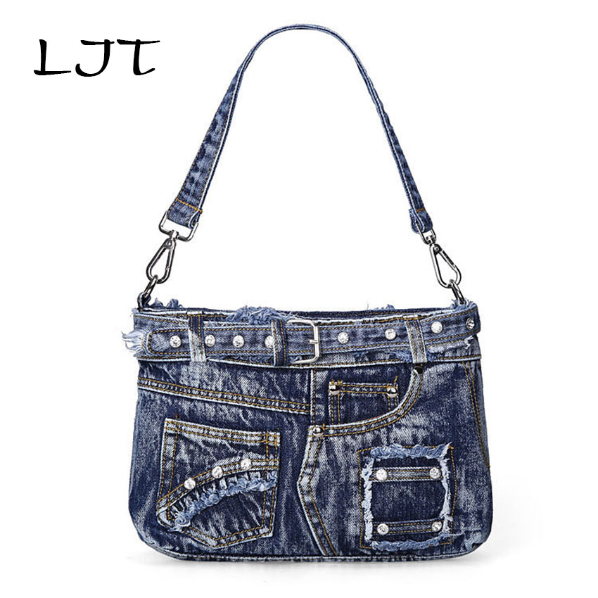 LJT Fashion Casual Cowboy Bag Denim Women Handbags Jeans Totes Female Cool Shoulder Messenger Bag Girl Personality Crossbody Bag<br>