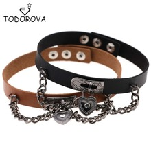 Todorova Punk Gothic Leather Love Heart Lock Pendant Friendship Choker Chain Necklace Women Accessories Collier Many Colors(China)