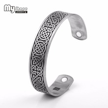 My Shape Magnetic Power Women Men bracelet Cuff Bangle Jewellery Engraved Luck Knot Viking Antique Silver Tone Adjustable Size(China)