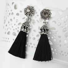 2016 Vintage Accessories Rhinestone Crystal Alloy Flower Tassel Earrings For Women Pendientes Brincos Statement Earrings   ED152