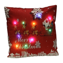 Merry Christmas Cushion Covers LED Light Pillow Case cover Decorative Cushion Throw Pillowcase Home Decor