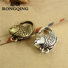 RONGQING 40pcs/lot Vintage Fish Shaped Lobster Clasps Unique Animal Shaped Clasps for Jewelry Making 28*14MM(China)