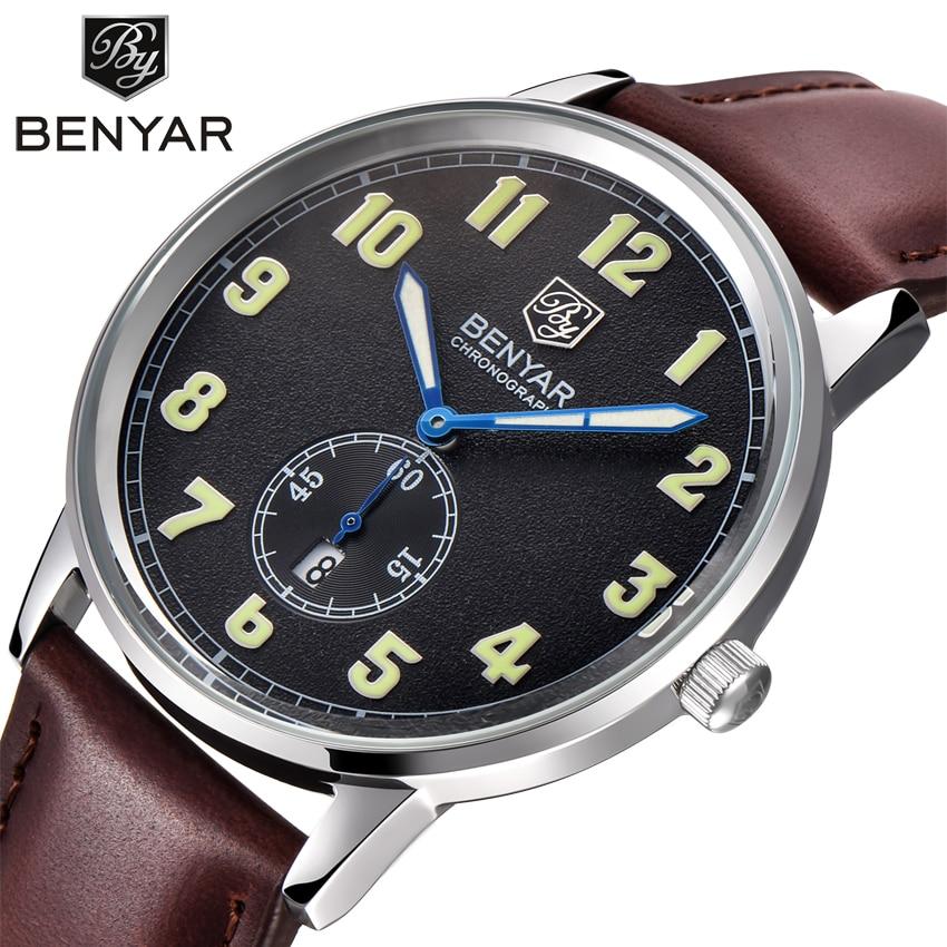Mens Watches Top Brand Luxury Leather Strap Sports Brown Army Military Quartz Watch Men Wrist Watch Clock relogio masculino<br>