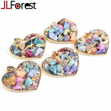 JLForest Gold Plated Heart Gravel Pendants Natural Mix Color Crystal Agate Stone Necklace Pendant Handmade Women Jewelry Charms