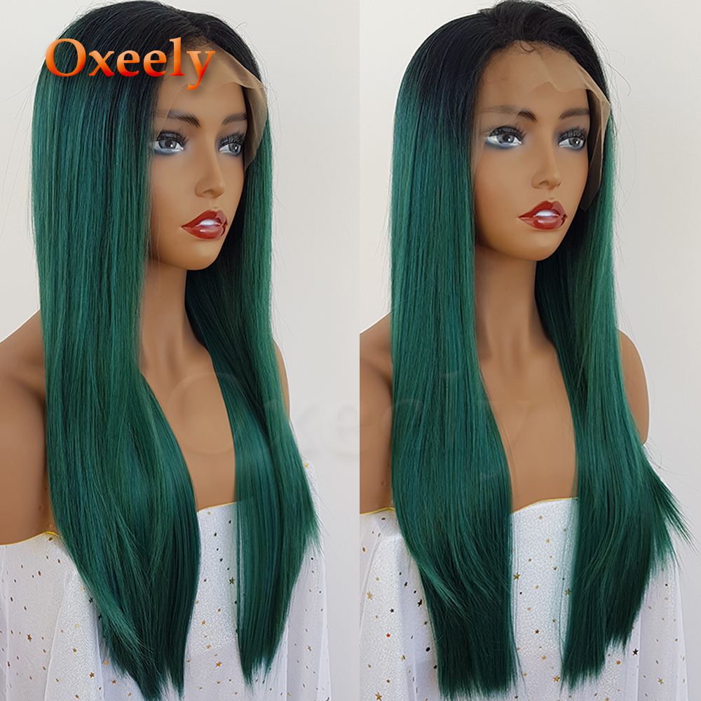Oxeely-Green-Synthetic-Lace-Front-Wigs-Ombre-Green-Silky-Straight-Wigs-Glueless-Natural-Hairline-180-Density (4)