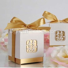 Free shipping Favor Holder - Cubic Card Paper Favor Boxes  Wedding Favors 12pcs