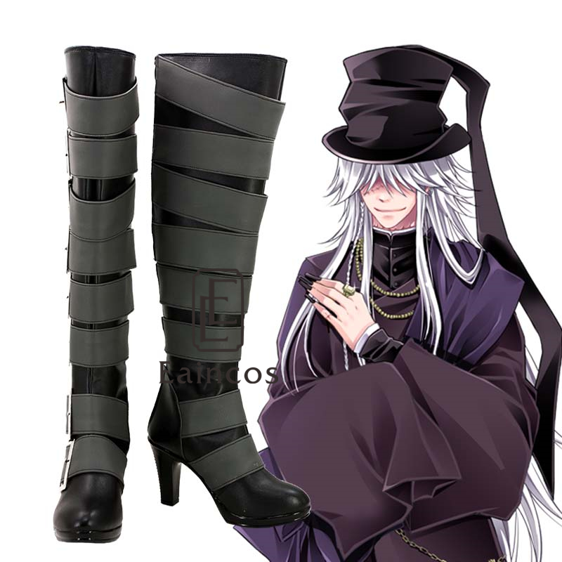 Anime Black Butler Kuroshitsuji Undertaker High Boots Cosplay Halloween Party Shoes Custom Made