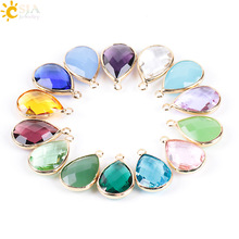 Buy CSJA Women Necklace Pendant Water Tear Drop Faceted Cutting Bezel Setting Glass Crystal Jewelry Beads 10 Pcs Free E895 for $3.27 in AliExpress store