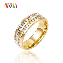 AMGJbk 8mm Gold Color Eternity Womens Wedding Band Engagement Promise Ring With CZ Diamonds Bridal Jewellery